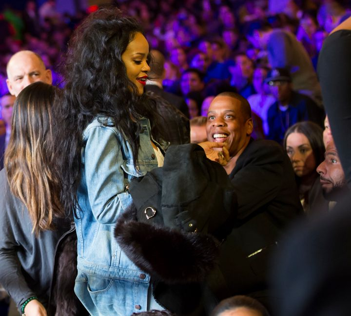Rihanna and Jay Z laugh it up.