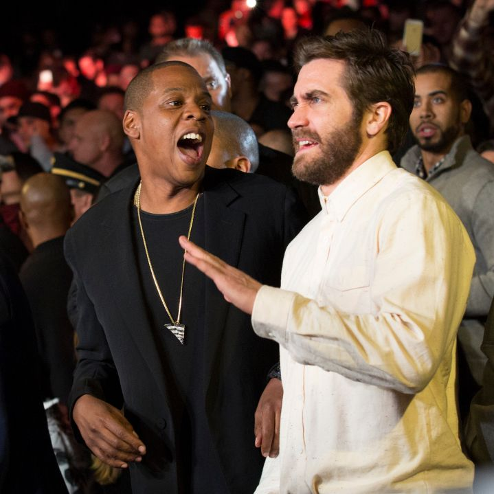 Jay Z and Jake Gyllenhaal joke around during the main event.