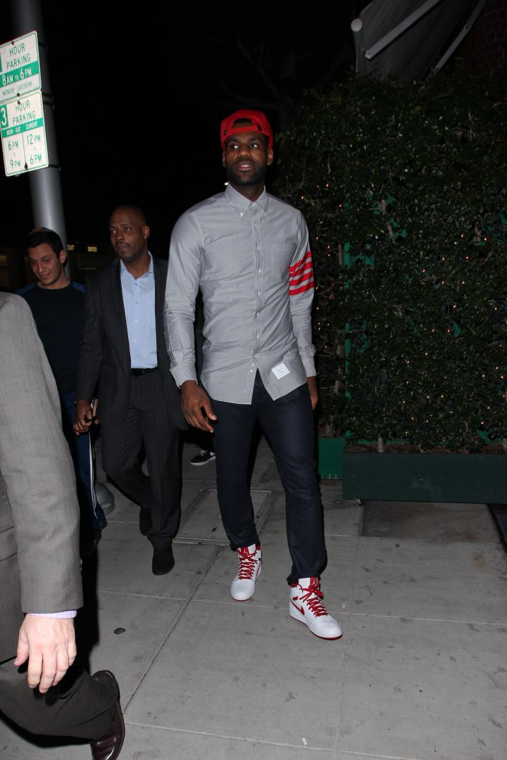 Baller LeBron James was spotted looking dapper as he left Mr. Chow with his crew.