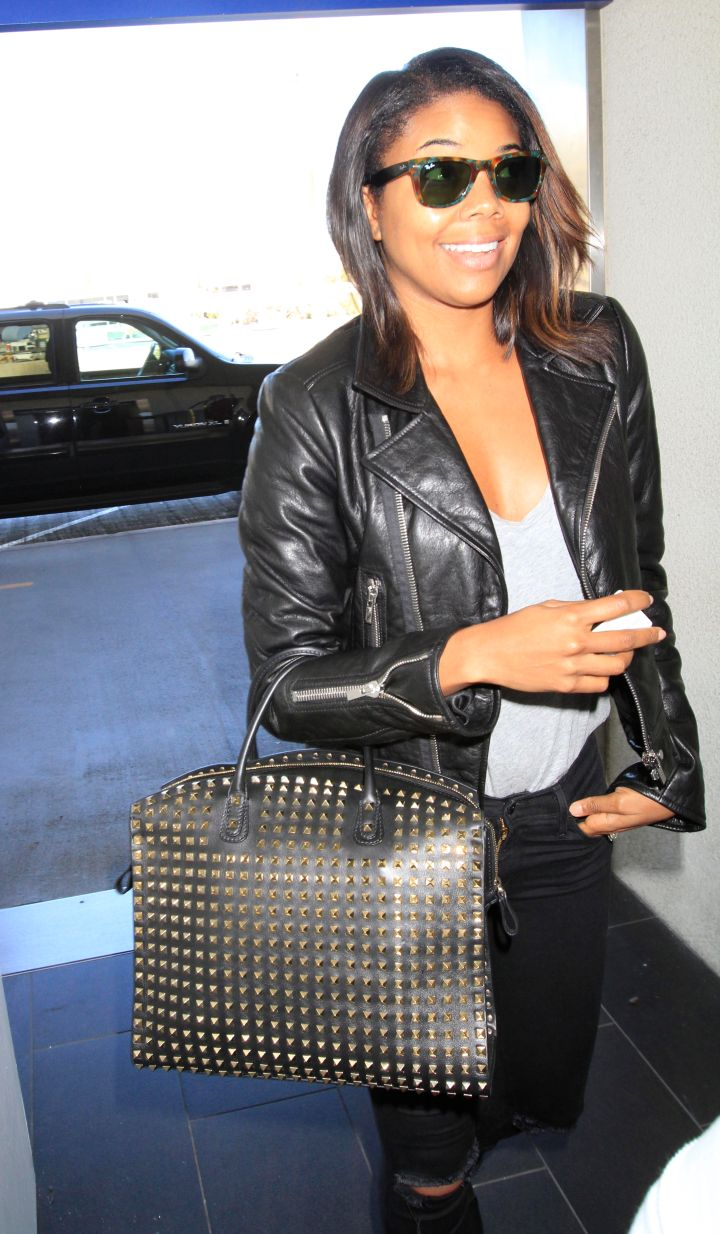Gabrielle Union was super chic in leather before catching a flight out of Los Angeles.