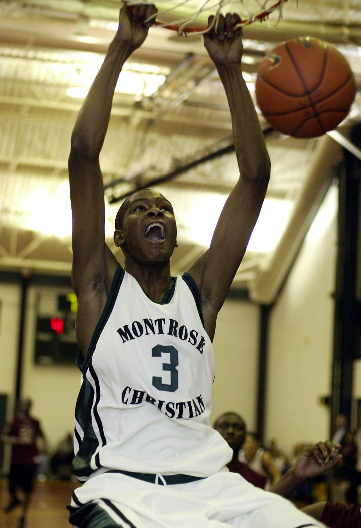 Skinny savage: Kevin Durant during his Montrose Christian High School days, 2005.