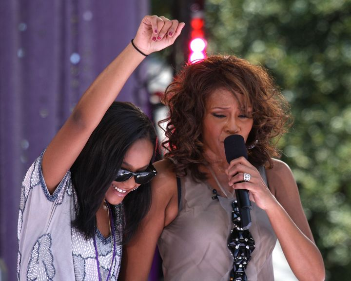 Bobbi Kristina Brown and Whitney Houston perform in Central Park on September 1, 2009.