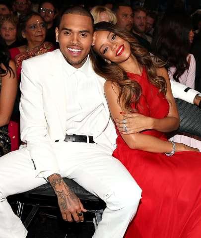 Chris Brown and Rihanna at 2013 Grammy Awards