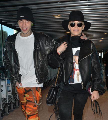 Singer Rita Ora and boyfriend Ricky Hilfiger at Heathrow airport in London.