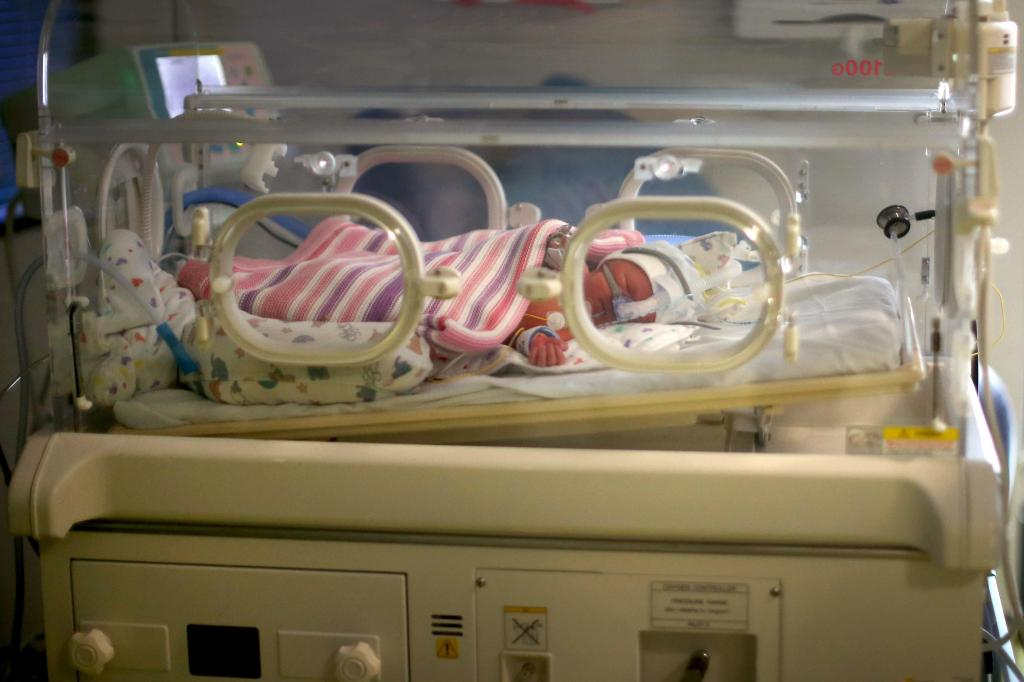 Newborn baby at hospital in Birmingham, England