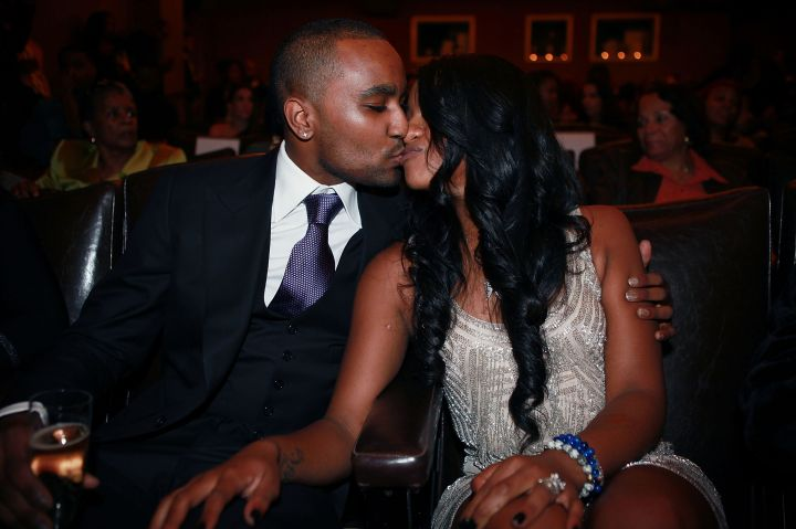 "Nick Gordon kisses Bobbi Kristina Brown at ""The Houstons: On Our Own"" series premiere party."