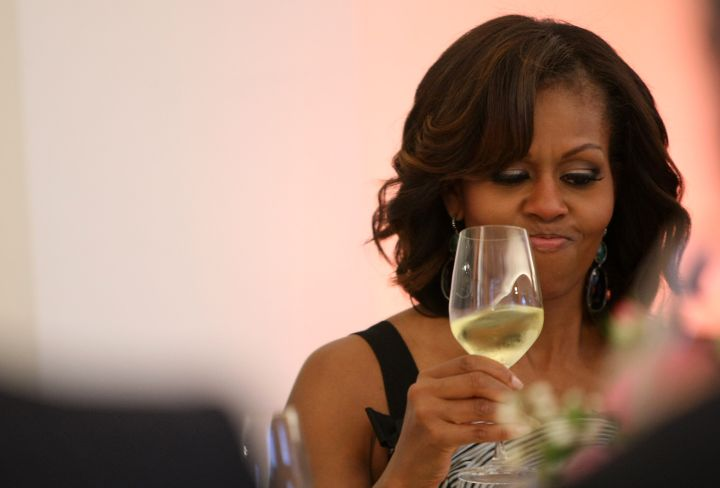 First Lady Michelle Obama likes to relax with white wine.