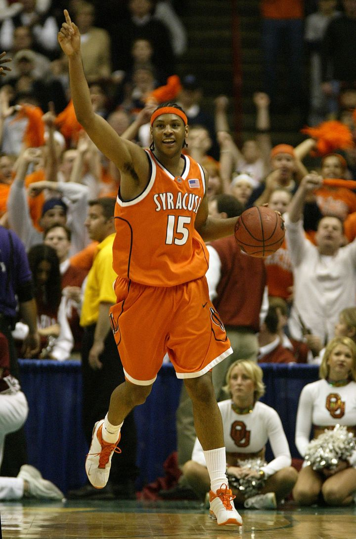 Greatness manifested: Melo celebrates his team's win over the Oklahoma Sooners during the NCAA Tournament in 2003.