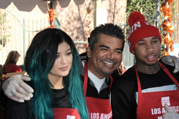 Tyga and Kylie pose with George Lopez.