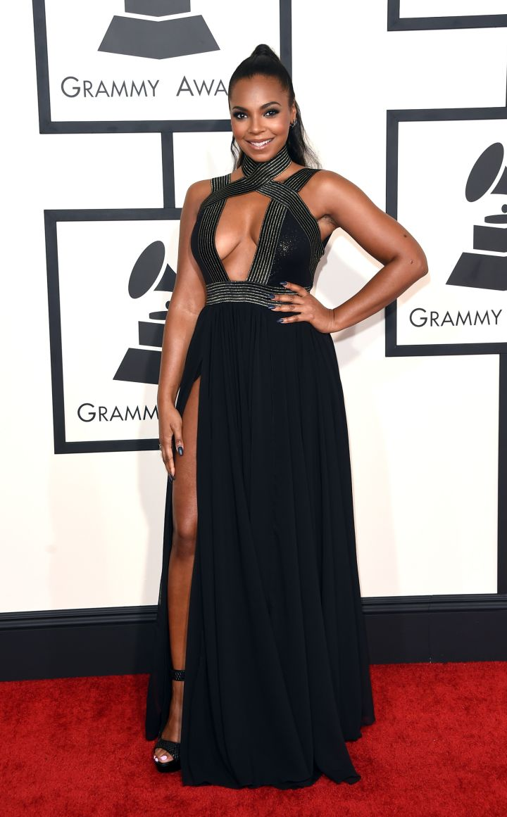 Ashanti in a Michael Costello gown