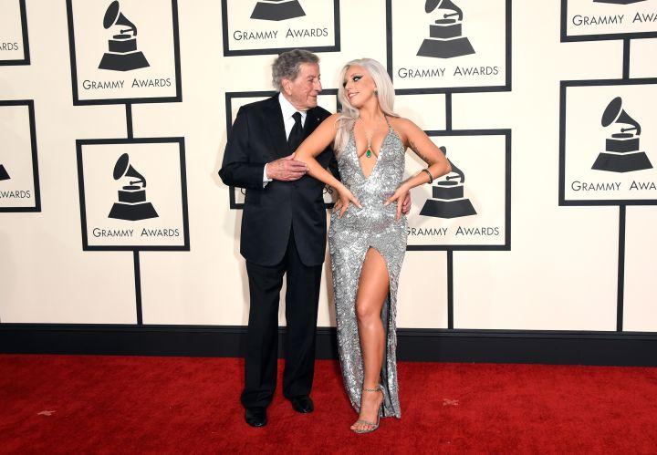 Lady Gaga in a Brandon Maxwell gown, posing with Tony Bennett