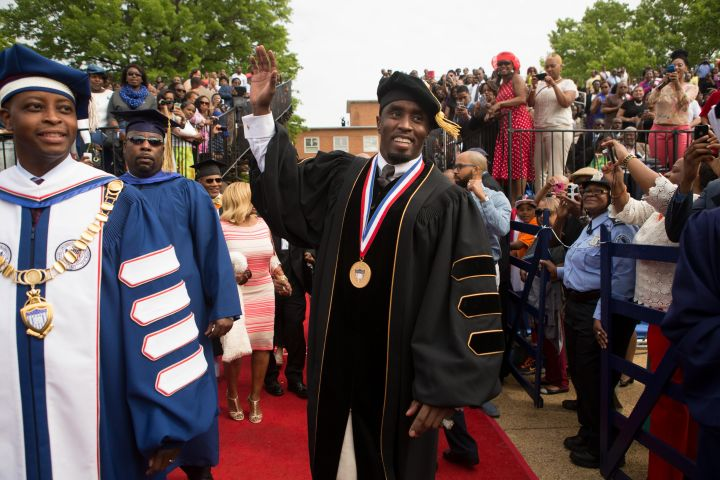 Diddy gets his inspirational speech on at Howard University last year.