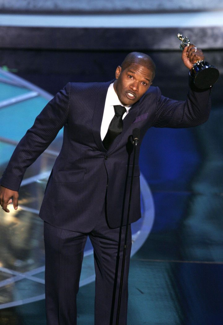 "Jamie Foxx also tugged at heartstrings when he accepted his Oscar for his portrayal of Ray Charles in ""Ray."""
