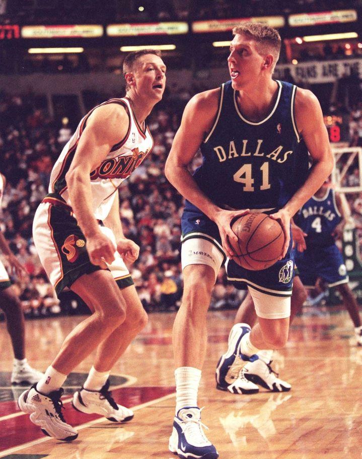 One German legend to another, Detlef Schrempf vs. Dirk, 1999.