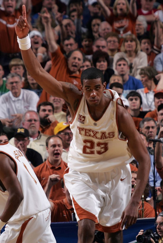 LaMarcus Aldridge celebrates en route to defeating the Texas A&M Aggies in the Big 12 Men's Basketball Tournament, 2006.