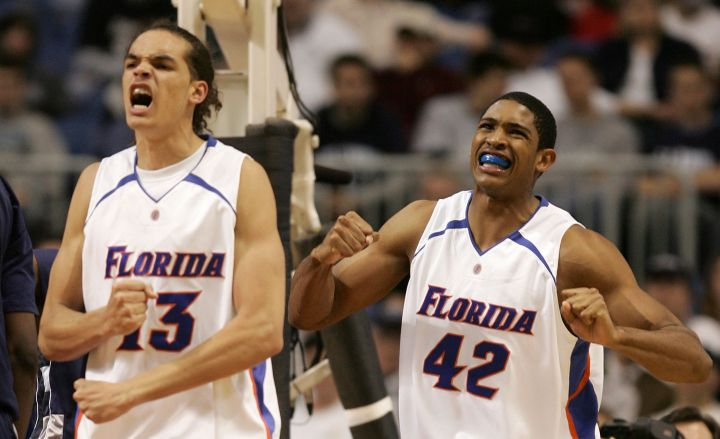 Future All-Stars Al Horford & Joakim Noah during another title run, 2005.