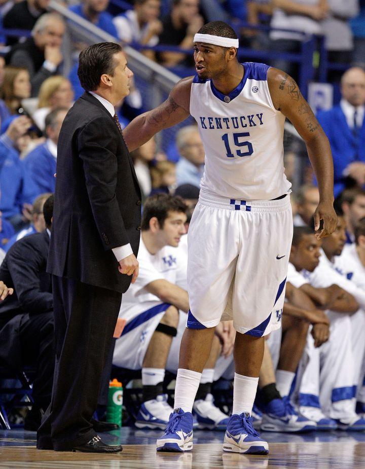 DeMarcus Cousins in a pleasant conversation with Kentucky Coach John Calipari, 2009.