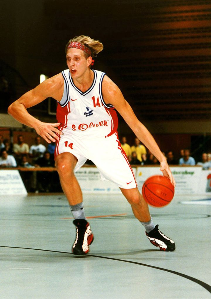 Young Dirk Nowitzki during a German League game in Wurzburg, Germany, 1998.
