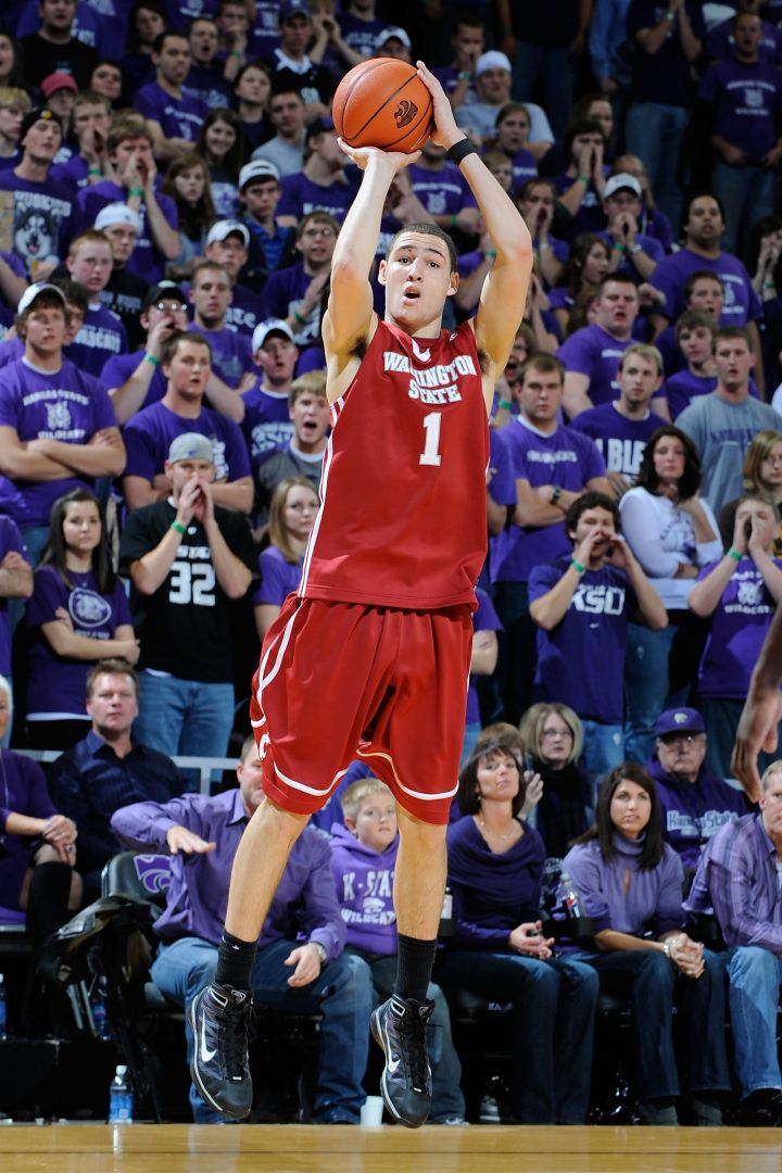 He's been wet for a minute: Klay Thompson quiets the crowd at Kansas State, 2005.