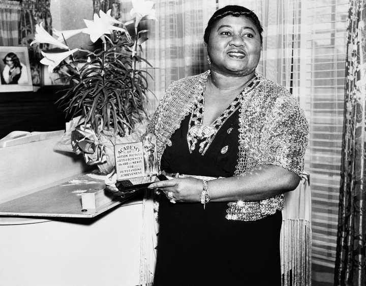 "Hattie McDaniel was the first African-American woman to win for her role as Mammy in ""Gone with the Wind."""