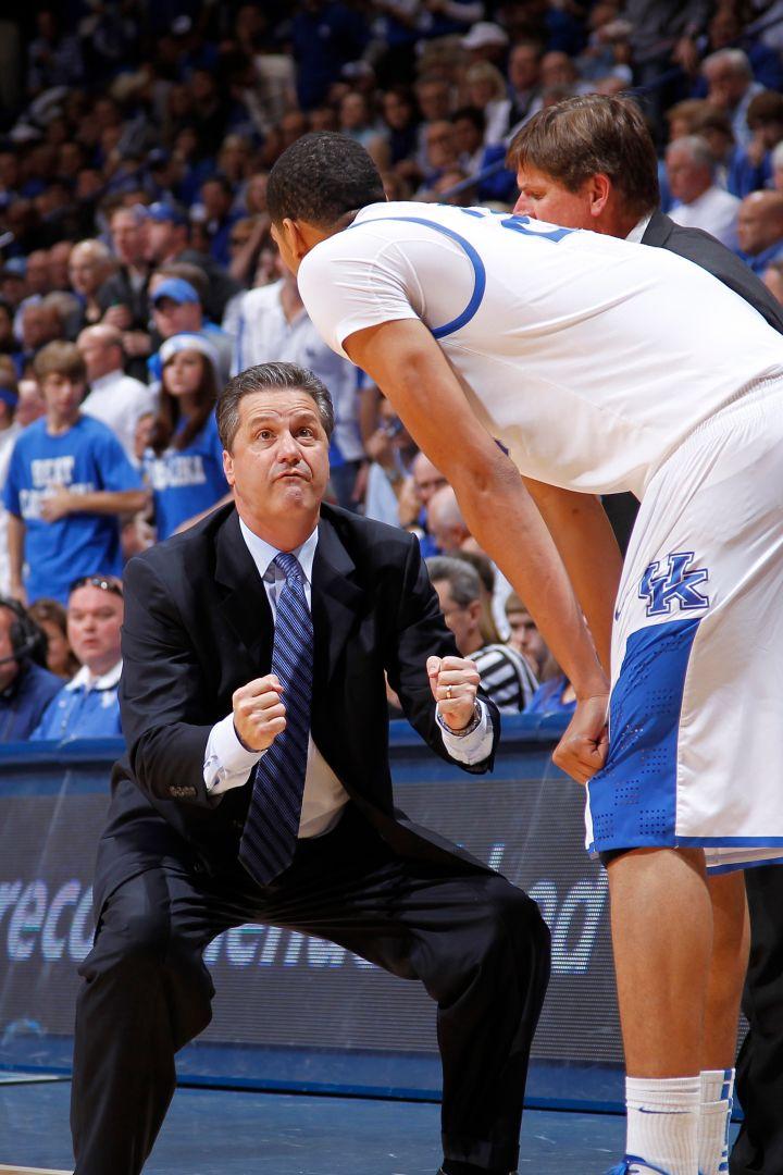 Kentucky Wildcats head coach John Calipari motivating The Unibrow.