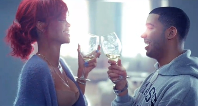 """Rihanna and Drake toasted on the set of her video """"What's My Name?"""""""