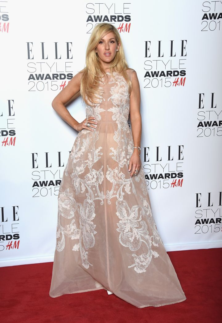Ellie Goulding wore a whimsical semi-sheer gown.