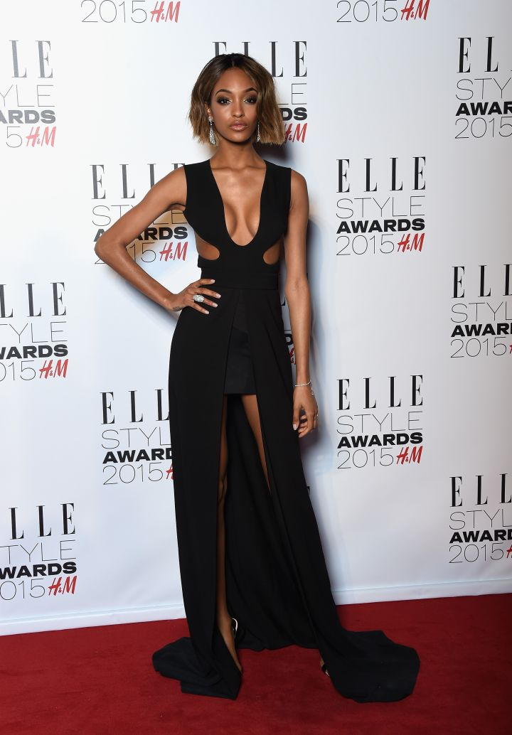 Jourdan Dunn flashed her assets in a sexy gown.