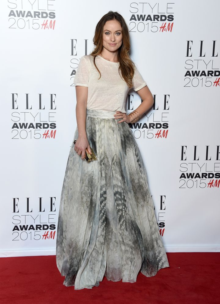 Olivia Wilde looked stylish in a skirt.