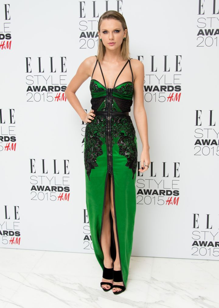 Taylor Swift was the woman of the night in an edgy gown.