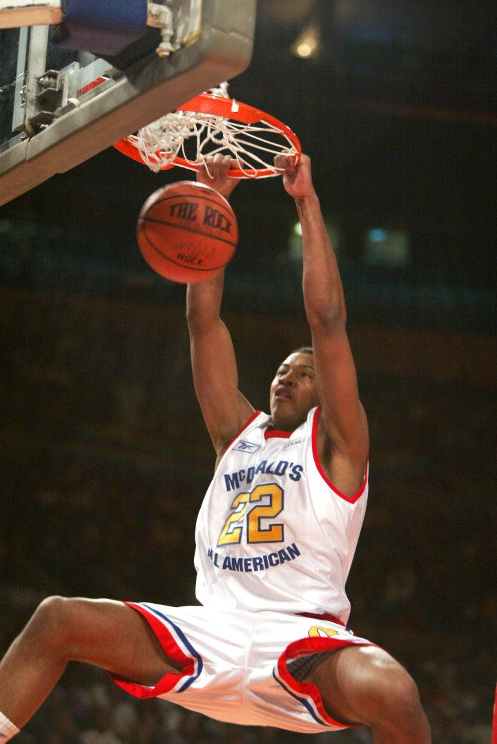 Carmelo Anthony during the 2002 McDonald's boys High School All America Game at Madison Square Garden.