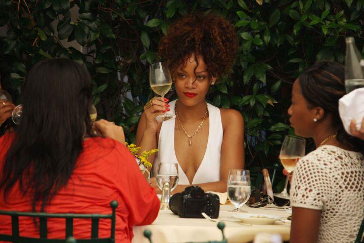 Rihanna made a toast with friends.