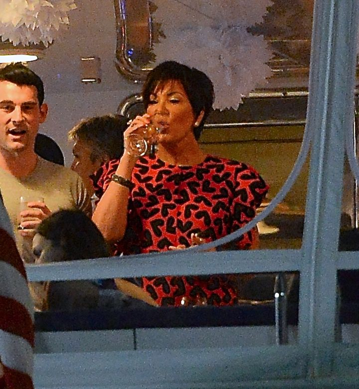 Kris Jenner enjoyed a glass with a friend.