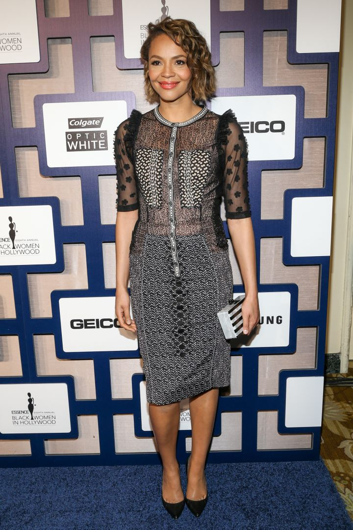 Carmen Ejogo was on trend with a sheer gray and black number.
