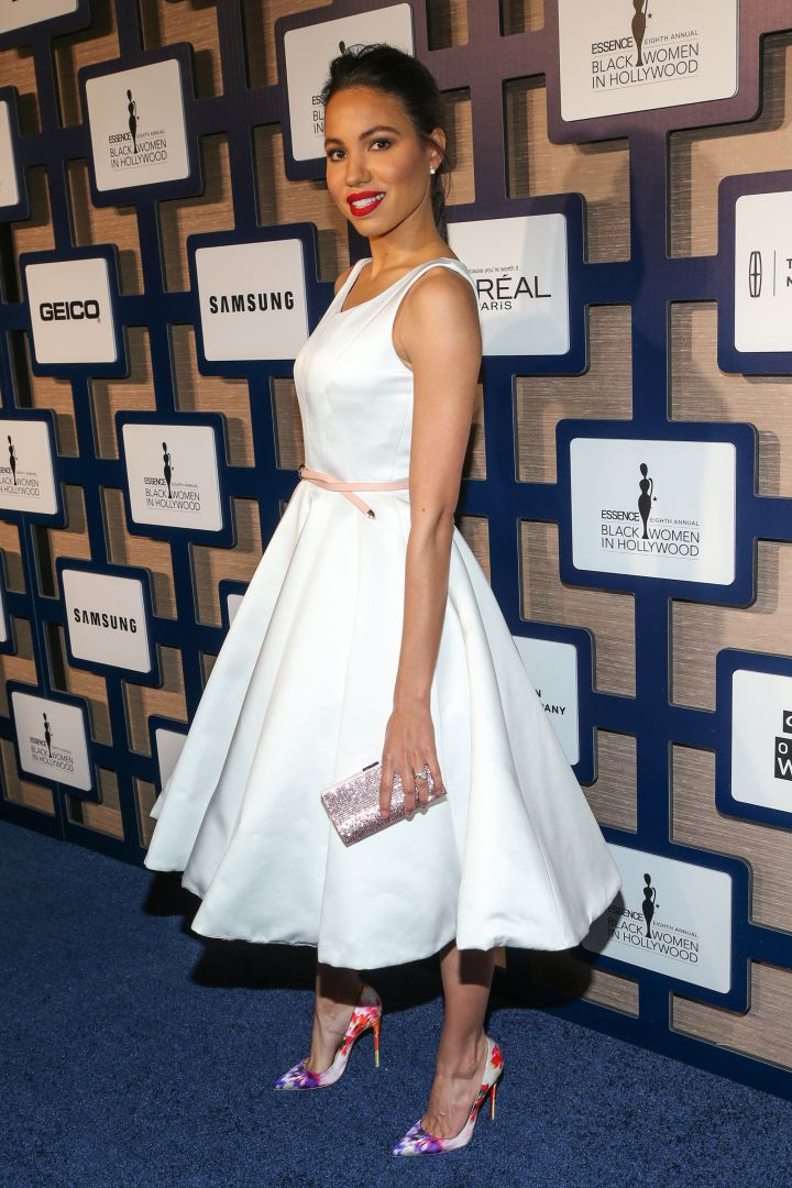 Jurnee Smollett-Bell opted for all white, with a pop-of-color lipstick.