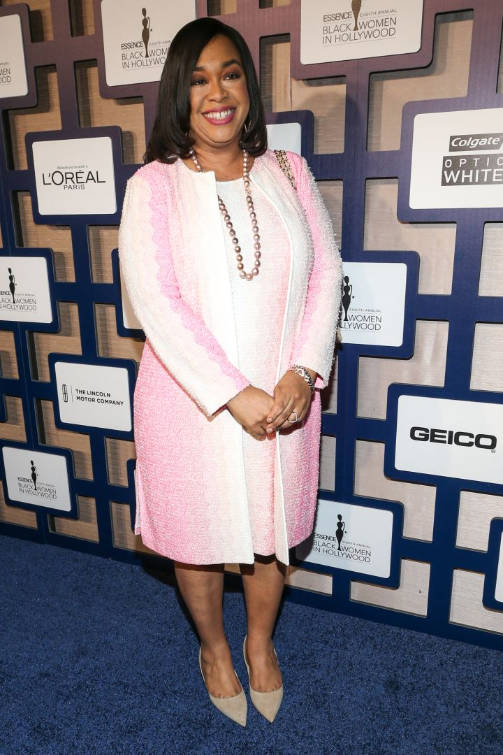 Shonda Rhimes was pretty in powder pink.