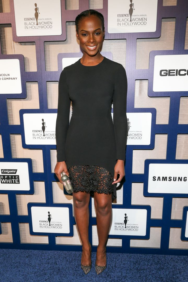 Tika Sumpter did the same and opted for a black curve hugging dress.