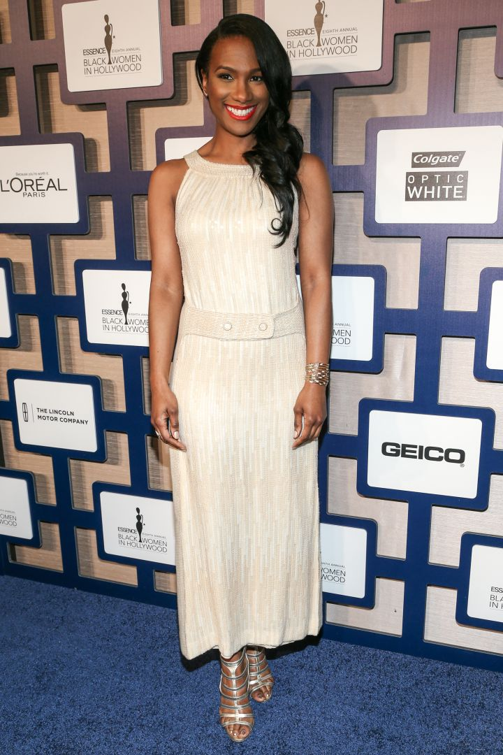 Vicky Jeudy killed in an ankle-length creme gown.
