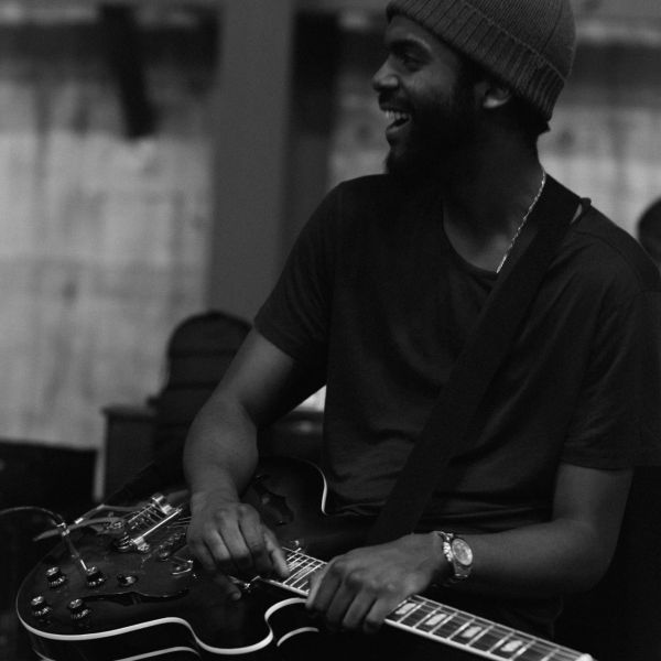 Gary Clark Jr. flaunts his million dollar smile during rehearsals.