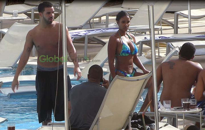 Drake and his latest boo Bernice Burgos were spotted relaxing by the hotel pool in Perth, Western Australia.