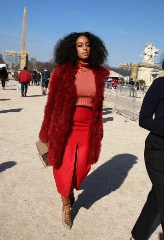 Solange Knowles arrives at Carven fashion show in Paris