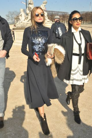 Olivia Palermo arrives at the Carven Fashion Show in Paris