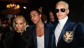 Kim Kardashian Oliver Rousteing and Jared Leto attend Balmain show during Paris Fashion Week