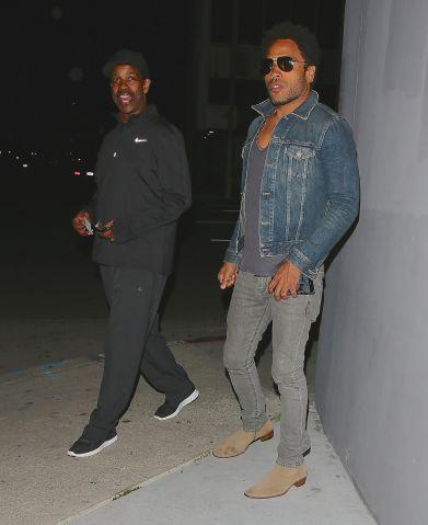 Denzel Washington and Lenny Kravitz arrive at Crossroads Restaurant in West Hollywood, CA