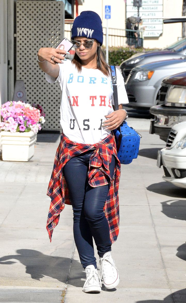 Christina Milian was caught taking a selfie while out and about in L.A.