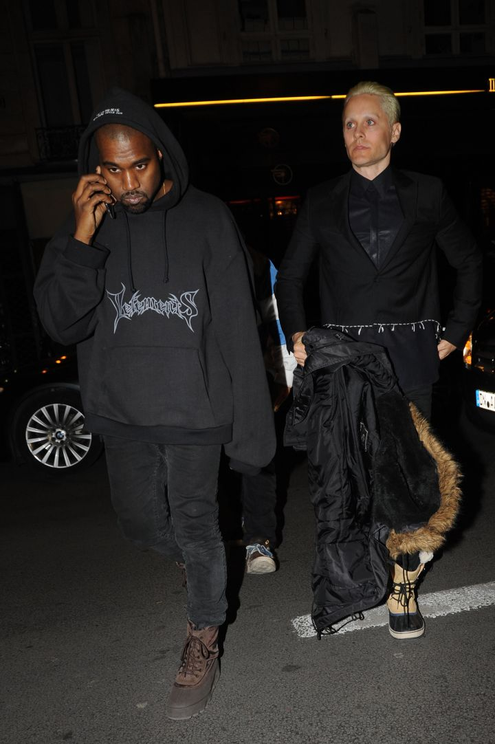 Kanye West and a very blonde Jared Leto partied it up in Paris during Fashion Week.