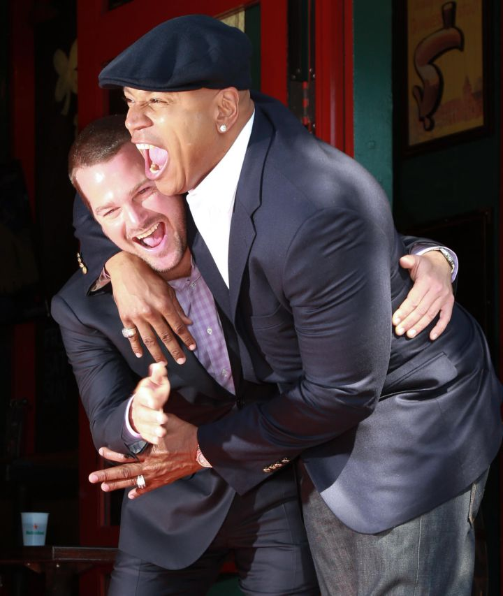 LL Cool J puts Chris O'Donnell in a playful headlock while the actor is being honored on the Hollywood Walk Of Fame.