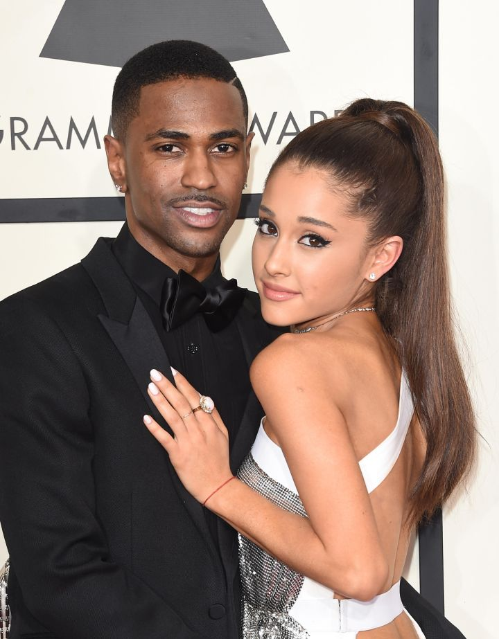 Ariana Grande and Big Sean attend The 57th Annual GRAMMY Awards.