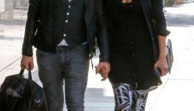 Zoe Saldana and her husband Marco Perego seen in Santa Monica