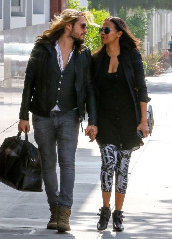 Zoe Saldana and her husband Marco Perego seen in Santa Monica